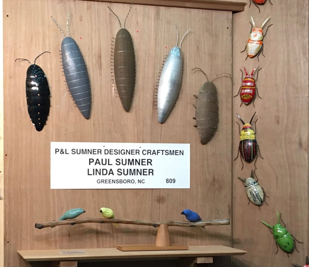 Display of Bugs and a tabletop bird stick at the 2018 ACC Baltimore show.