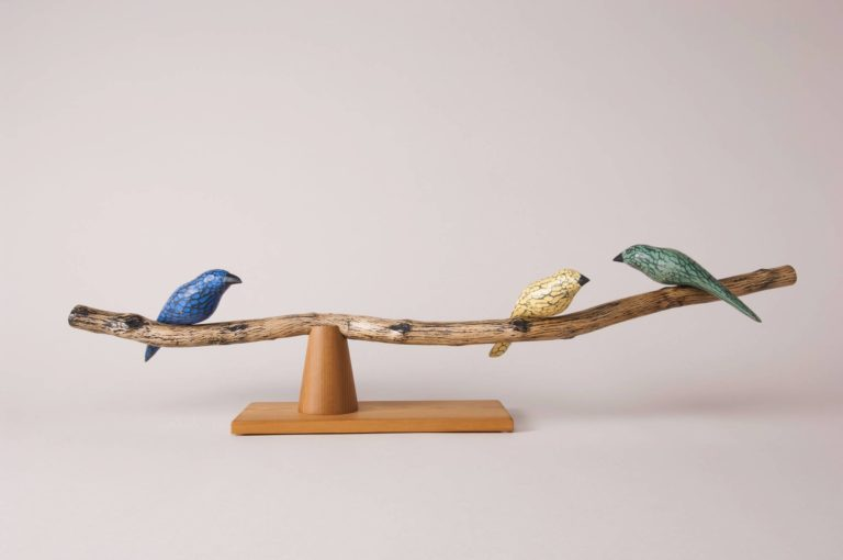 hand carved and painted pine birds scraped and waxed beech with cedar base