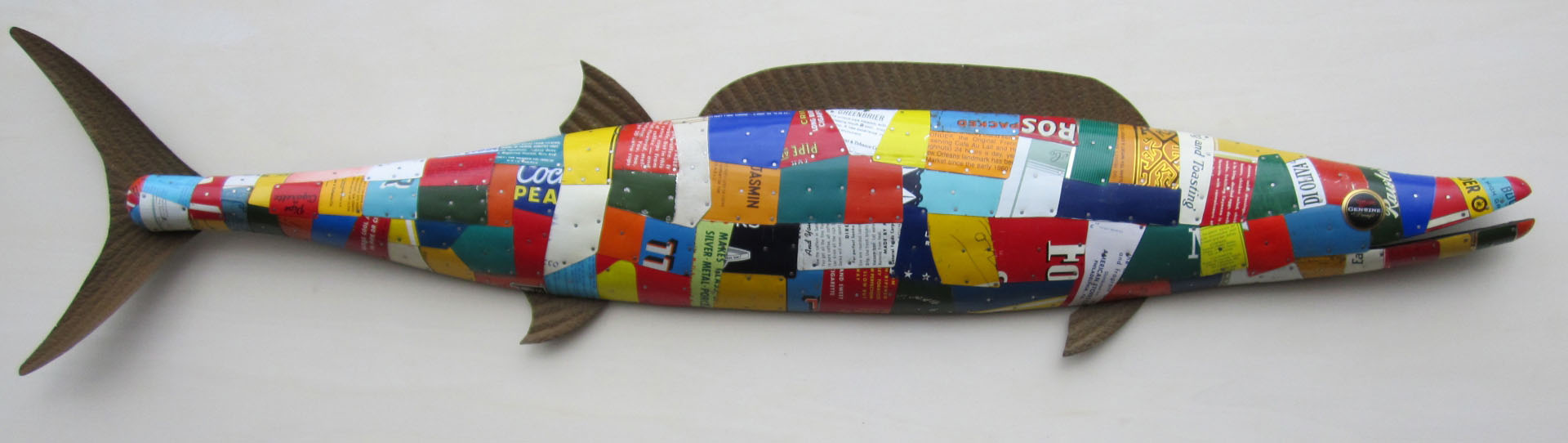 hand crafted wooden fish sculpture with antique tin plating and fins