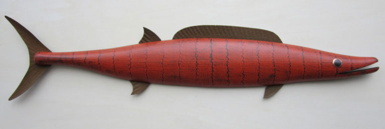hand crafted wooden fish sculpture, textured painted gesso with metal fins