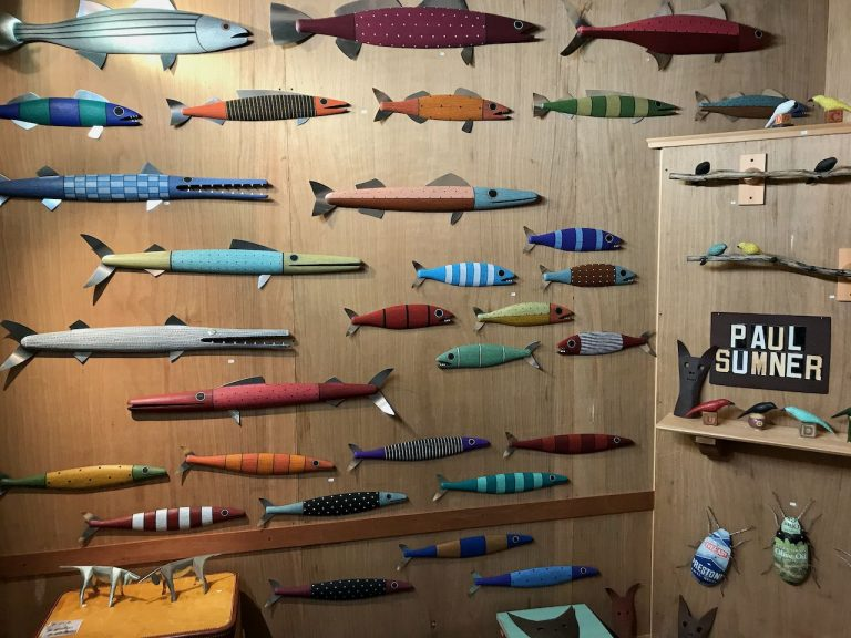 2019 Richmond Craft + Design Booth left wall with wooden fish