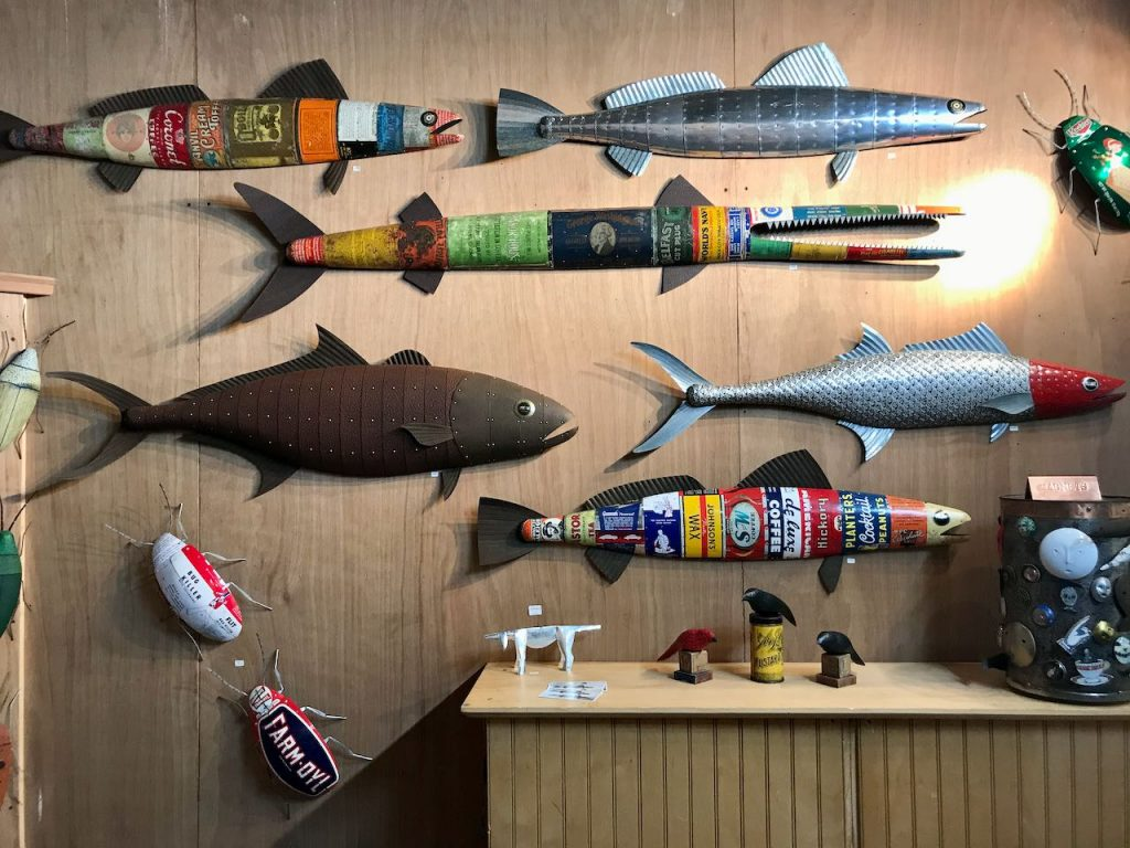 2019 Richmond Craft + Design Booth Right Wall with unique one-of-a-kind metal clad fish